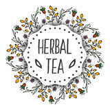 Herbal tea tags background. Round frame with herbs Stock Image