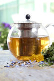 Herbal tea in teapot. On the table Stock Images