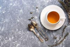 Herbal tea with thyme on a gray background. Tea in a white cup with herbs. Top view, copy space. Herbal tea with thyme on a gray background. Tea in a white cup Stock Photos