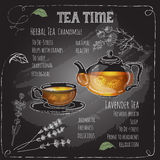 Herbal Tea Time card with cup, teapot,  flowers  and  leaves. Stock Photography