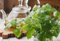 Herbal tea in a transparent teapot on the table and sprigs of fresh Melissa lemon balm and mint Royalty Free Stock Photo