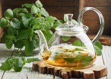 Herbal tea in a transparent teapot on the table and sprigs of fresh Melissa lemon balm and mint Royalty Free Stock Photos