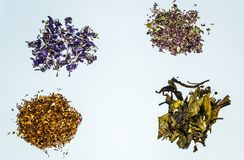 Flower and herbal tea collection. Herbal tea on white background health procurement tea Stock Photo