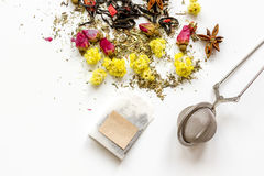 Herbal tea on white backgroung top view mockup Stock Photos