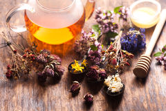 Herbal tea with wild flowers and various herbs Stock Image