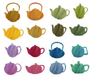 Herbal teapots set. Vector design green pattern.Colorful icons, hand-drawing. Stencil teapots on a background of multicolored grass Royalty Free Stock Photo