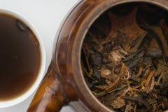 Herbal tear and enamel pot on white Stock Photos