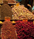 Herbal teas in Istanbul Spaice Market. Royalty Free Stock Images