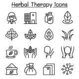 Herbal Therapy & Spa icon set in thin line style Stock Photography