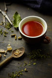 Herbal tisane infusion. On rustic table background Stock Image
