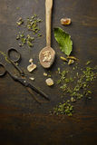 Herbal tisane infusion. On rustic table background Royalty Free Stock Photo