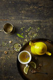 Herbal tisane infusion. On rustic table background Stock Images