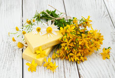 Herbal  treatment - camomile, tutsan and soap Stock Images