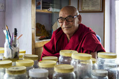 The herbalist of Thiksey Gompa in Ladakh, India Stock Photo