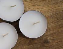 Herbat światła na drewnianym tle Obraz Stock