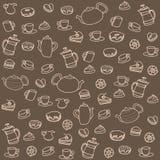Herbata i cukierki. Wektorowy bezszwowy wzór Zdjęcie Stock