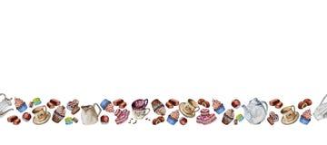 Herbata i kawowy ustawiający z filiżankami, kawowymi fasolami i cukierkami, obraz stock