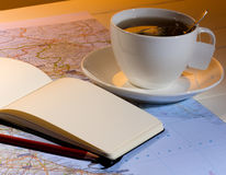 Herbata i plan podróży Fotografia Stock