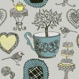 Herbata i ptaki. ilustracja wektor