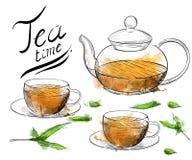 herbata inkasowy ilustracyjny wektor Ręka remisu ilustracja filiżanka, teapot Zdjęcia Royalty Free