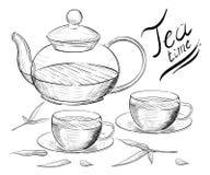 herbata inkasowy ilustracyjny wektor Ręka remisu ilustracja handluje porcelany świeżego porcelanowe truskawek herbatę razem herba Zdjęcia Stock