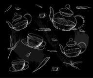 herbata inkasowy ilustracyjny wektor Ręka remisu ilustracja handluje porcelany świeżego porcelanowe truskawek herbatę razem herba Obrazy Stock