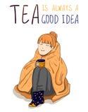 ` herbata jest zawsze dobrym pomysłu `, WEKTOROWY plakat Zdjęcia Stock