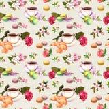 Herbata, kawa wzór - kwiaty, croissant, teacup, macaroon zasychają akwarela bezszwowy royalty ilustracja