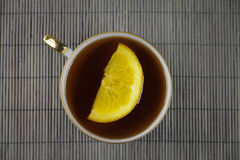 Herbata na bambusowym tle Obraz Royalty Free