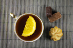 Herbata na bambusowym tle Fotografia Royalty Free