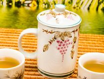 Herbata Na patiów przedstawień przerwy Breaktime I czasie zdjęcie stock
