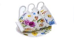Herbata set, kawa set, spodeczek, filiżanka, biały tło, kuchenny naczynie, kitchenware Obrazy Stock
