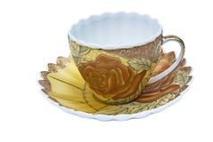Herbata set, kawa set, spodeczek, filiżanka, biały tło, kuchenny naczynie, kitchenware Zdjęcie Stock