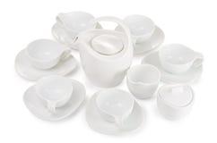 Herbata set, set sześć filiżanek, teapot, cukierniczka i mleko, Obrazy Stock
