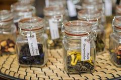 Herbata w szklanych słojach Zdjęcie Stock