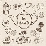 Herbata z ciastkami Zdjęcia Royalty Free
