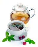 Herbata z malinkami i mennicą Obraz Royalty Free