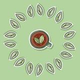 herbata ziołowa kubki Ekologiczna i odpady motywacja E ilustracja wektor