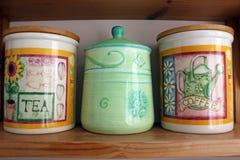 Herbaty, kawy i cukieru kanistery, fotografia stock