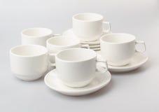 herbaty porcelany lub setu herbaciany ustawiający na tle Zdjęcia Stock