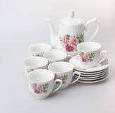 herbaty porcelany lub setu herbaciany ustawiający na tle Obrazy Royalty Free