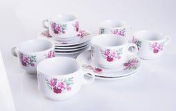 herbaty porcelany lub setu herbaciany ustawiający na tle Fotografia Royalty Free