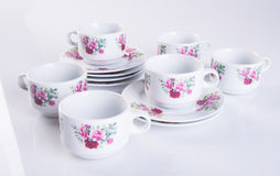 herbaty porcelany lub setu herbaciany ustawiający na tle Zdjęcie Stock