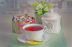 Herbaty wciąż życie z czekoladami Fotografia Royalty Free