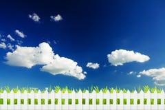 Herbe avec la barrière au-dessus du ciel Photographie stock