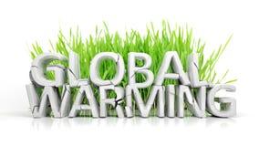 Herbe avec le texte 3D cassé de réchauffement global Photos libres de droits