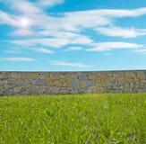 Herbe, ciel et mur photographie stock