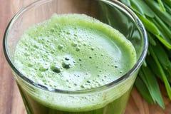 Herbe d'orge verte tirée dans un verre Photos libres de droits
