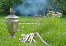 Herbe de fumée de samovar Photographie stock