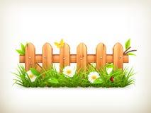 Herbe de ressort et barrière en bois illustration de vecteur